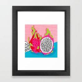 Hard Core - memphis throwback retro neon tropical fruit dragonfruit exotic 1980s 80s style pop art Framed Art Print