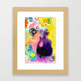 Purple Cat abstract painting Framed Art Print