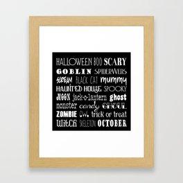 Halloween Typography Black Framed Art Print