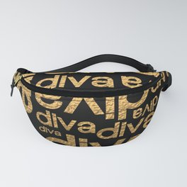 Diva Gold Metallic Repeated Typography Fanny Pack
