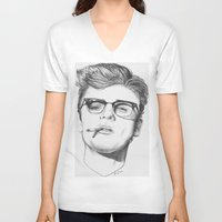 cigarette V-neck T-shirts featuring James Cigarette by Omar Guzman