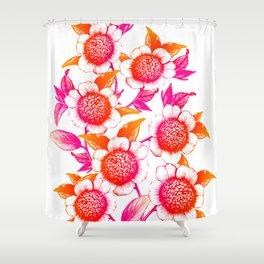 Pink and Orange Flowers Elegant Pattern Shower Curtain