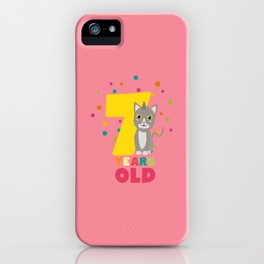 Seven Years seventh Birthday Party Cat Dkp39 iPhone Case