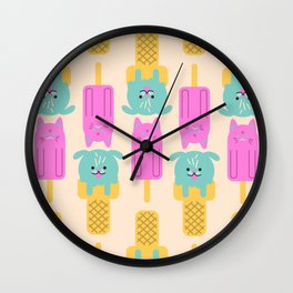 Cat and Dog - simple cute illustration Wall Clock