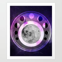 moon phase Art Prints featuring Moon Phase by Fantastikat