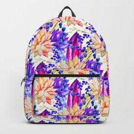 Hand painted orange purple navy blue watercolor cactus floral Backpack