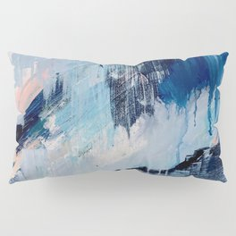 Vibes: an abstract mixed media piece in blues and pinks by Alyssa Hamilton Art Pillow Sham