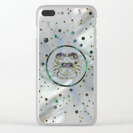 Cancer Zodiac Gold Abalone on Constellation Clear iPhone Case