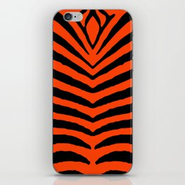 Orange Neon and Black Zebra Stripe iPhone Skin