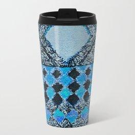 V32 Boho Blue Traditional Moroccan Carpet. Travel Mug
