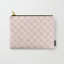 Back to School- Simple Diagonal Grid Pattern- Black & Pink - Mix & Match with Simplicity of Life Carry-All Pouch