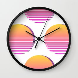 80s Gradient Retro Vaporwave Sun Wall Clock