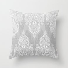 Lace & Shadows 2 - Monochrome Moroccan doodle Throw Pillow