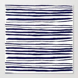 Blue- White- Stripe - Stripes - Marine - Maritime - Navy - Sea - Beach - Summer - Sailor 3 Canvas Print