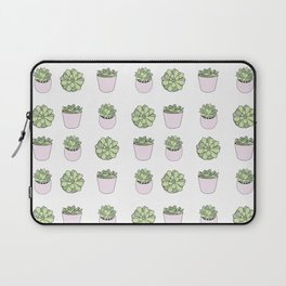 Green and pink suculents in flowerpots Laptop Sleeve