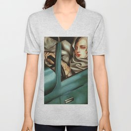 Classical Masterpiece 'My Portrait - Self-Portrait in the Green Bugattis by Tamara de Lempicka Unisex V-Neck