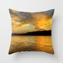 when the light turns to gold... Throw Pillow