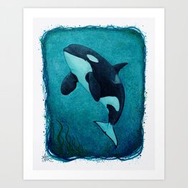 """""""The Matriarch"""" by Amber Marine ~ Orca / Killer Whale (J2 Granny) Watercolor Art, (Copyright 2016) Art Print"""