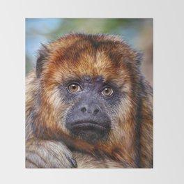 Monkey Portrait Throw Blanket