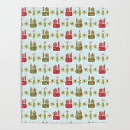 Wrapped Presents Under the Tree Green and Red Poster