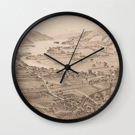 Ticonderoga Map 1884 (Sepia) Wall Clock