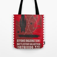 battlestar Tote Bags featuring Beyond imagination: Battlestar Galactica postage stamp  by Chungkong