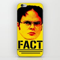 "dwight schrute iPhone & iPod Skins featuring Dwight Schrute ""FACT"" by Silvio Ledbetter"