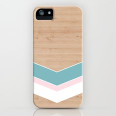 wooden geometric pink and blue Slim Case iPhone (5, 5s)