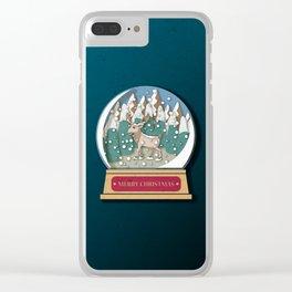 Merry Christmas Snowglobe Reindeer Clear iPhone Case