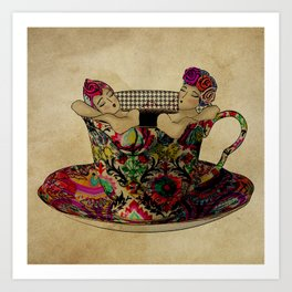 Chit chat over coffee Art Print