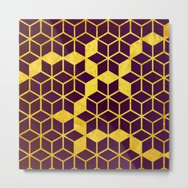 Dark Purple and Gold Cubes Metal Print