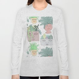 Planter Faces + Dots in Garden Green Long Sleeve T-shirt