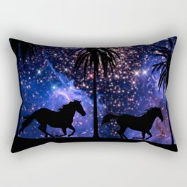 Galloping horses under starry sky Rectangular Pillow