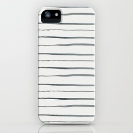 Hand painted white gray watercolor striped pattern iPhone Case