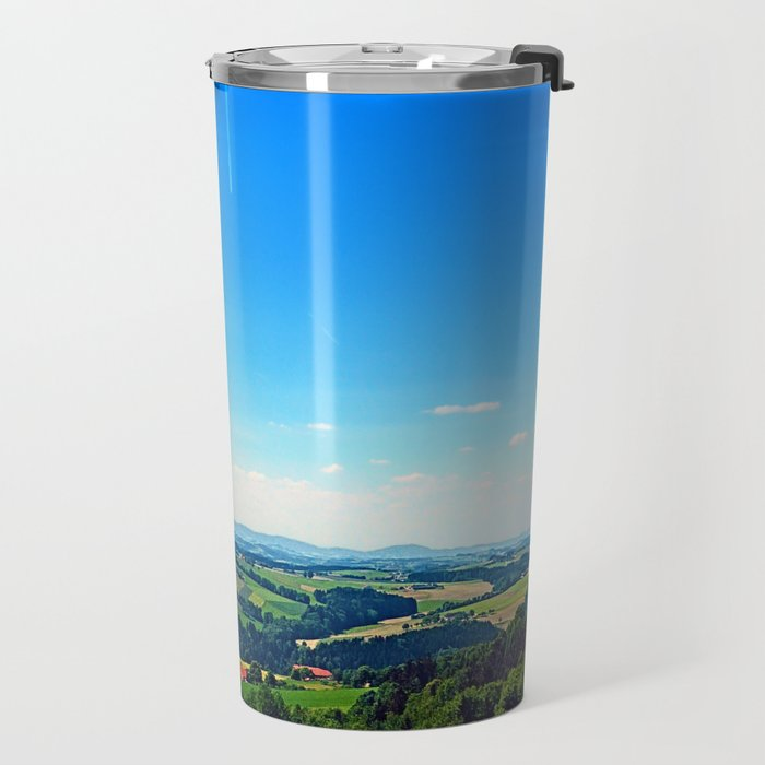 Condensation trail with some scenery Travel Mug