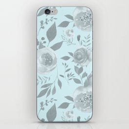 light blue and gray floral watercolor print iPhone Skin