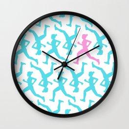 Running Girl Pastel Pattern Wall Clock