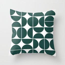 Mid Century Modern Geometric 04 Dark Green Throw Pillow