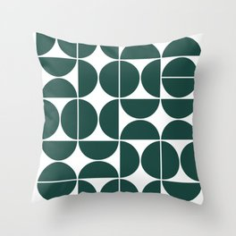 Mid Century Modern Geometric 04 Dark Green Throw Pillow