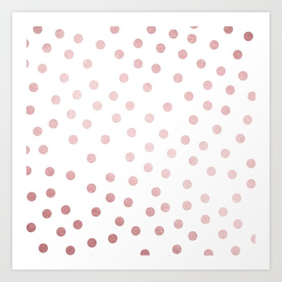 Simply Dots in Rose Gold Sunset Art Print
