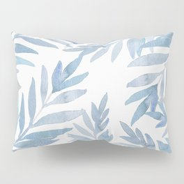 Muted Blue Palm Leaves Pillow Sham