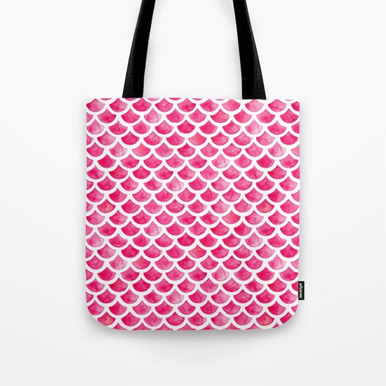 Pink Mermaid Scales Tote Bag