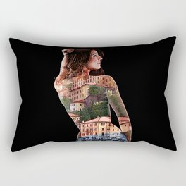 Sexy Woman with Bellagio, Italy Tattooed on Her Back Rectangular Pillow