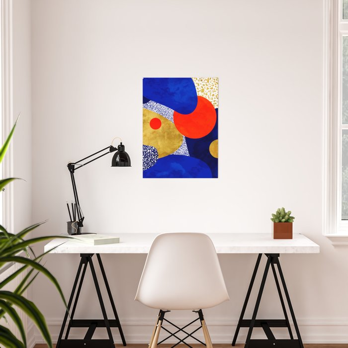 Terrazzo galaxy blue night yellow gold orange Poster