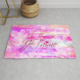 JE T'AIME French Typography Font I Love You Romantic Fine Art Pastel Pink Colorful Abstract Painting Rug