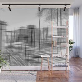 pencil drawing buildings in the city in black and white Wall Mural
