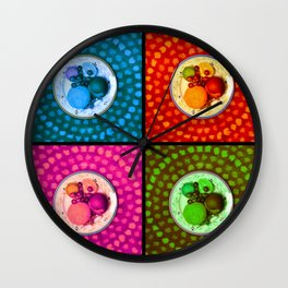 Fruity Pop (fruit, colorful, kitchen art, photography, collage, fun, pop art) Wall Clock