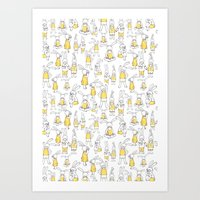 Bunnies in pattern Art Print