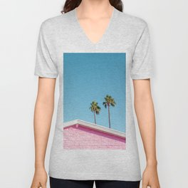 Pink House Roofline with Palm Trees (Palm Springs) Unisex V-Neck