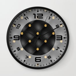 Luxury Tufted Gold Diamond 2 Wall Clock